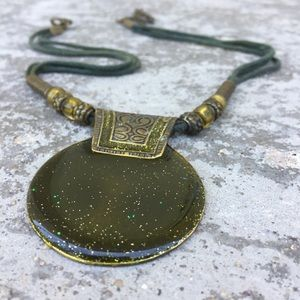 Vintage Bronze and Green Enamel Necklace